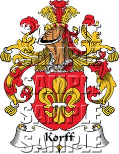 Korff Family Crest apparel, Korff Coat of Arms gifts