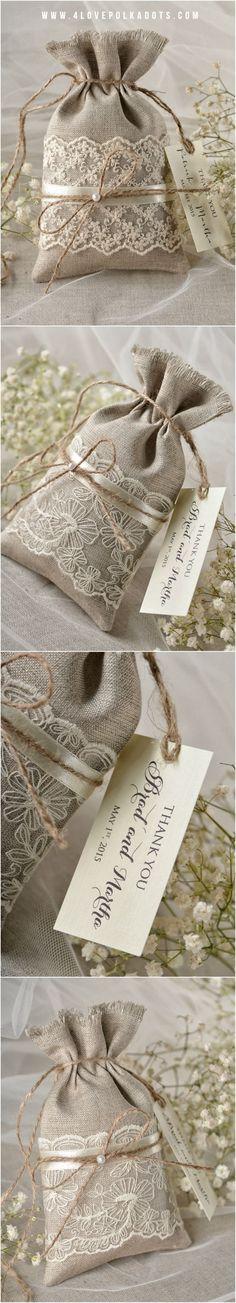 Linen Wedding Favor Bag with Lace #lace #linen #handmade #weddingideas #rustic #vintage #weddingfavors #favorbags