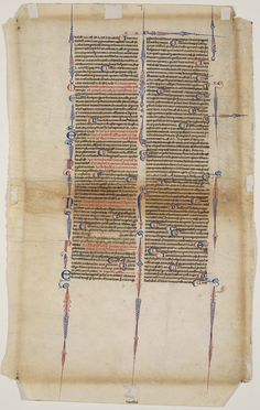 1250-1300 French Medieval (Gothic).  A leaf from the Codex Justinianus, containing the Corpus Juris Civilis, a collection of civil laws.  At the Museum of Fine Arts, Boston.
