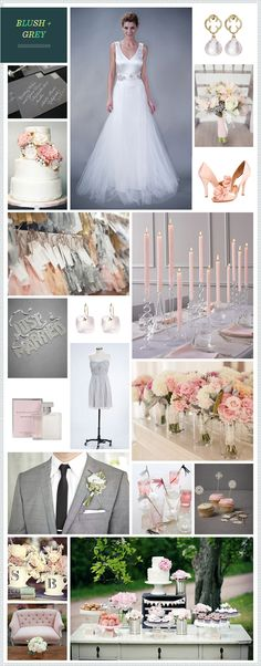 Blush & Gray color pallet...add in a little green and we're good to go.    So elegant and romantic!