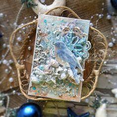 "За чашкой чая: Зимняя птичка. Миксд-медиа открытка / Mixed media card ""Winter bird"""