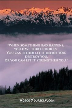 """When something bad happens, you have three choices. You can either let it define you, destroy you, or you can let it strengthen you."""