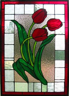 StainedGlassville Forums - Red Tulips ::: My favorite Tulips in stained glass. Stained Glass Quilt, Faux Stained Glass, Stained Glass Designs, Stained Glass Panels, Stained Glass Projects, Stained Glass Patterns, Leaded Glass, Mosaic Glass, Mosaic Flowers
