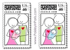 New parents with baby, custom postage by Paisley In Paris™