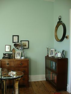 Our Eclectic Flea Market vintage deco living room, bohemian, Farrow and Ball Teresa's green..