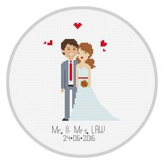 Custom Wedding Cross Stitch Pattern PDF Wedding by Xrestyk on Etsy