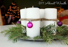 """We've never had an Advent wreath and every year it's on my holiday  to-do/acquire list. Then, somehow the season slips by with nary a purple  candle in sight.  So this year.... this year! I would do it and do it before Advent started.  Then, I couldn't find purple or pink candles at the craft store....and my  wreath was too high and close to the wicks for the candles I did get...and  the makeshift platform we constructed to raise them up wasn't exactly  """"stable"""".  I was tempted to run right…"""
