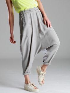 34b53803c0b TENCEL LOW CROTCH TROUSERS Baggy Trousers