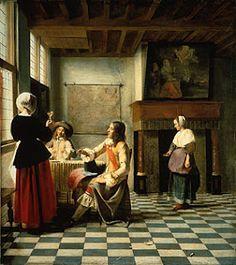 Peter de Hooch  Une femme avec deux hommes  NG London