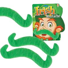 12 St Patricks Day Green Costume Mustache party favors