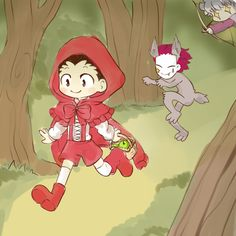 Gon & Hisoka | crossover is TOO REAL <---- And look at little Killua as the huntsman/woodchopper/whatever-that-guy-is-in-the-story!
