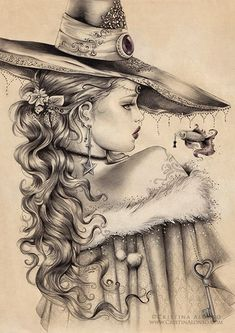 Image by ♡ Colouring Pages, Coloring Books, Adult Coloring, Art Sketches, Art Drawings, Photo Portrait, Witch Art, Gothic Art, Gothic Poems