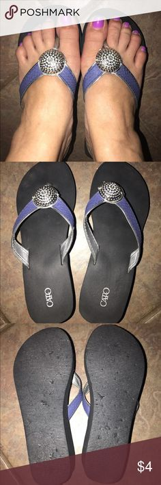 833d8ee771a7b7 Flip Flops Used denim strap flip flops with silver Cato Shoes Sandals Flip  Flops