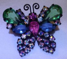 Multi Colored Rhinestone Butterfly Brooch Signed Weiss Mourning Jewelry