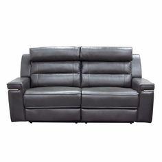 Duncan Dual Reclining Sofa in Slate Grey Leatherette by Diamond Sofa