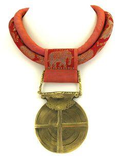 Silk Fiber Necklace with Orange Elephant by gretchenschields