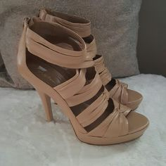 """BCBG High Heel Platform Sandal Work it in this stylish,  bandage strap platform sandal.   Perfect neutral to add to your closet for date night.   The color is soft sand and the heel is 5"""" with a 1""""platform.   Worn once.   Excellent condition. BCBGeneration Shoes Platforms"""
