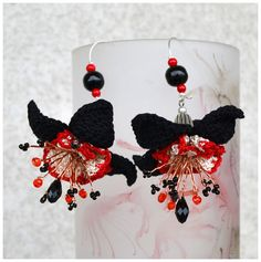 elegant crochet earrings ooak crochet flowers black by Marmotescu