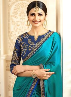 4a33f086dc2e13 Description Blue Embroidered Art Silk Saree features an art silk blouse and  saree embellished with zari and stone work. Color: blue Embroidery: zari  Fabric: ...