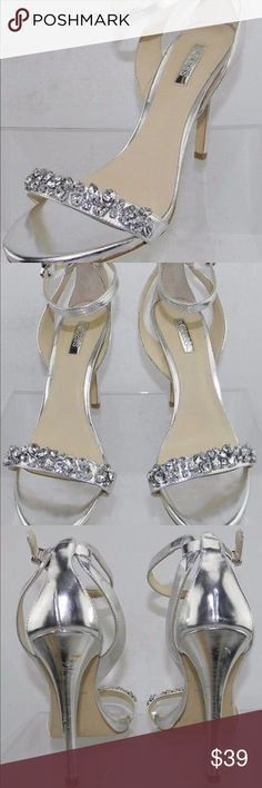Women's Guess Catarina 2 Silver Heel Size 8.5 M Women's Guess Catarina 2 Silver Heel Sandals Size 7.5 M NEW (display model has scratches on both heels see pictures) Heel Height 4.5 in. Guess Shoes Heels