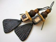 Desolation Angels - primitive assemblage rusty black pewter paddles, monochrome ceramic cubes, ostrich shell, brass, wood, & copper earrings by LoveRoot