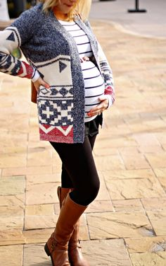 Maternity stripes and cozy sweater. super cute and cozy, perfect for fall, i would probably go without the belt