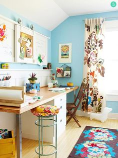 love the patterned curtain with bold colored walls.....  credit: BHG [http://www.bhg.com/decorating/storage/organization-basics/make-organizing-fun/?page=8#page=8]