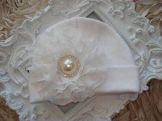 White Infant Baby Girl Beanie Hat with Chiffon Flower and Pearl rhinestone