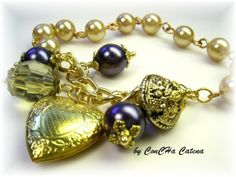 Armband blau-gold m. Herz-Medaillon von ConCHa Catena auf DaWanda.com