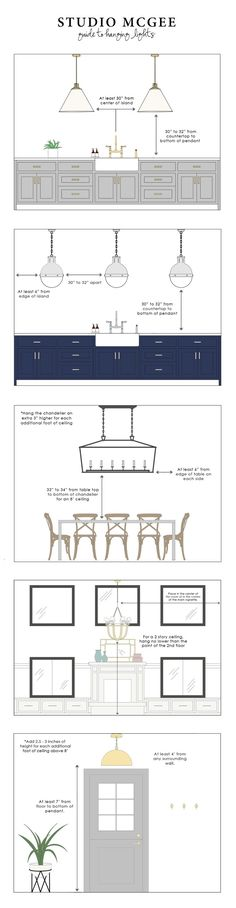 Hang chandelier 34 inches from the bottom of fixture to top of dining table. Studio McGee Guide to Hanging Lights Interior Exterior, Interior Design Tips, Kitchen Interior, Interior Decorating, Decorating Ideas, Interior Modern, Design Ideas, Interior Designing, Diy Interior