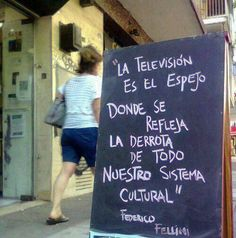 """""""Television is the mirror where we can see our whole cultural system fail"""" - Federico Fellini Utopia Dystopia, Environmental Influences, Graffiti, Communication Studies, Pretty Images, Spanish Quotes, Famous Quotes, Letter Board, Decir No"""