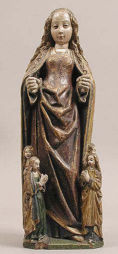 A South Netherlandish wooden figure depicting Saint Ursula of Cologne and four virgin martyrs, c.1500; St Ursula is portrayed with maidens, some of her symbolic attributes. (Metropolitan Museum of Art)