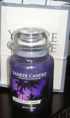 Yankee Candle: Midnight Oasis, one of my favorite candle scents... Lighter version of midsummer night , also my substitute candle when msn is out of stock at Yankee candle