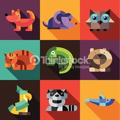 Clipart vectoriel : Set of flat design geometric animals icons