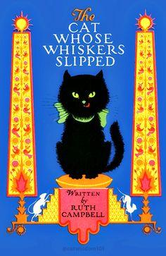 Vintage deco illustration by Eliabeth Cadie. #blackcat book cover. More cat art @catwisdom101