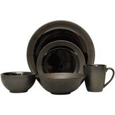 Sango 40-piece Bistro Black Stoneware Dinnerware Set   Overstock.com Shopping - Great Deals on Sango Casual Dinnerware