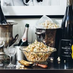 At The Riddler in San Francisco, Jen Pelka offers different flavored popcorns to snack on while drinking Champagne. The one here is seasoned like an e...