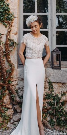 Brides who love boho chic wedding dresses, we guarantee that you'll be grinning from ear to ear as you scroll through this 2 Piece Wedding Dress, Boho Chic Wedding Dress, Wedding Dress Trends, Wedding Attire, Wedding Gowns, Jenny Packham, Divine Atelier, Types Of Gowns, Traditional Gowns