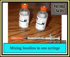 Mixing insulins in one syringe its not hard to learn it just takes a little bit of practice . Once you go through the instructions to mix insulin in a syringe given below, you will find it is a ver… Nursing Journal, Dosage Calculations, Nclex, Pharmacology, Spray Bottle, Drugs, Medical, Learning, Stay Calm