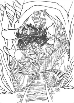 Harry Potter And Friends Ride Underground Cart coloring page from Harry Potter category. Select from 25721 printable crafts of cartoons, nature, animals, Bible and many more.