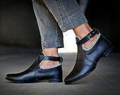 30% sale , Jil, Black Ankle Boots, Handmade Shoes, Black Flats