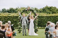 Bride & Groom raising their hands after they are married - Image by David Jenkins - Stephanie Allin Bride And Maids To Measure Bridesmaids For A Scottish Castle Wedding At Wedderburn Castle With Groom In Tartan Suit Back Garden Wedding, Garden Wedding Dresses, Garden Wedding Decorations, Wedding Flowers, July Wedding, Wedding Ceremony, Maids To Measure, Scottish Castles, Wedding Portraits
