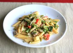 Pasta Primavera with Asparagus, Zucchini, Mushrooms and Spring Onions