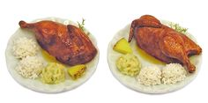 Miniature Marinated Rotisserie Chicken for 2 - Handmade 1:12 scale OOAK -I wish I had a dining room to serve Kiva's meals in mini! Next room box-Louise Glass