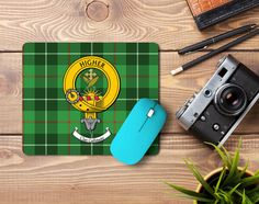 Rubber mousepad with Galloway clan crest and tartan - only from ScotClans