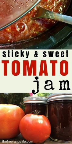 DIY Food Preservation Tips and Recipes : Tired or sauce and salsa? Try out this sticky and sweet Tomato Jam! It's sure to be a new favorite to add to your home canned pantry! Jelly Recipes, Jam Recipes, Canning Recipes, Crockpot Recipes, Spinach Recipes, Vegetable Recipes, Tomato Jelly, Tomato Relish, Canning Tomatoes