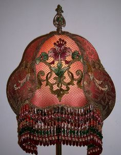 Antique table lamp with victorian lamp shade victorian lamp love antique french chenille metallic embroidered hand made victorian lampshade lamp shade floor lamp aloadofball Choice Image