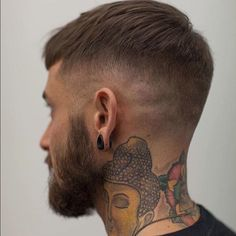 Get the look www.blhair.co.uk Great short cut, who agrees? Via @nomadbarberbln | www.blhair.co.uk Mens hair, Mens hair 2016, pompadour, fade, tattoos, tapered cut, crop cut, mens hair texture