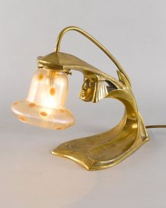 Gustav Gurschner desk lamp with female mask