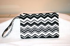 Chevron Black n White Wristlet Padded Bag  iPod Bag by MeeMawsBags
